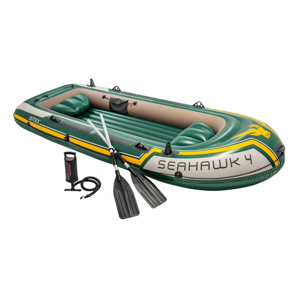 Intex Seahawk 4, 4-Person Inflatable Boat Set with Aluminum Oars and High Output Air Pump (Latest Model) by Intex