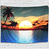Tapestry Wall Hanging Ocean and Palm Tree at Sunset Tapestry Natural Landscape Beach Wall Decor Blue and Yellow Home Decor Living Room Bedroom Dorm Room 51x59 Inch