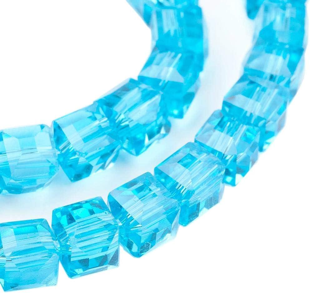 Perlas de Cristal Bohemias, 4 mm y 6 mm, Juego de Cubos facetados, Perlas checas de Cristal Tallado Entre Perlas, Perlas de Cristal Impresas, Cristal, Azul Aguamarina, 6x6x6 mm 20 Stück