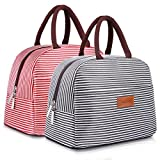 BALORAY Lunch Bag Tote Bag Lunch Organizer Lunch Holder Lunch Container (Black+Red White Stripes)