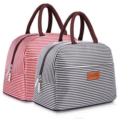 (BALORAY Lunch Bag for Women Men Lunch Tote Bag Lunch Organizer Lunch Holder Lunch Container (Black+Red White Stripes))