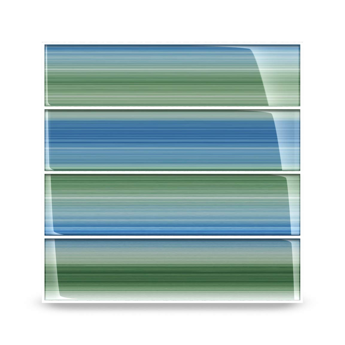 Green and Blue''Tidal'' Glass Subway Tile for Kitchen Backsplash or Bathroom, 3x12