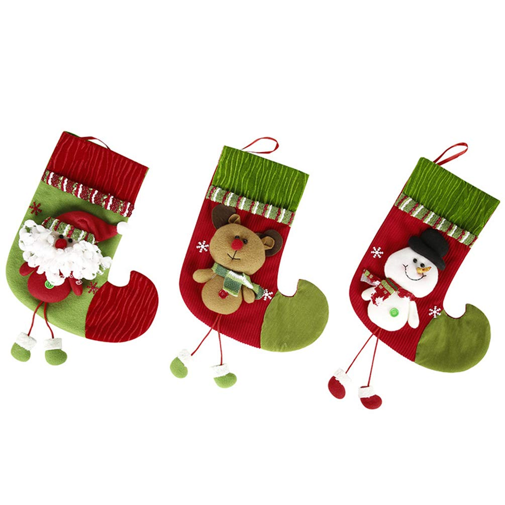 Miss X DIY 3 Pack 11'' Snowflake Large Christmas Stockings Gift & Treat Bag 3D Applique for Holiday Decorations and Gift Holder (Santa +Snowman+Elk)