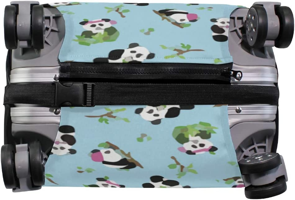 Pandas Bamboo Blue Travel Suitcase Protector Zipper Suitcase Cover Elastic