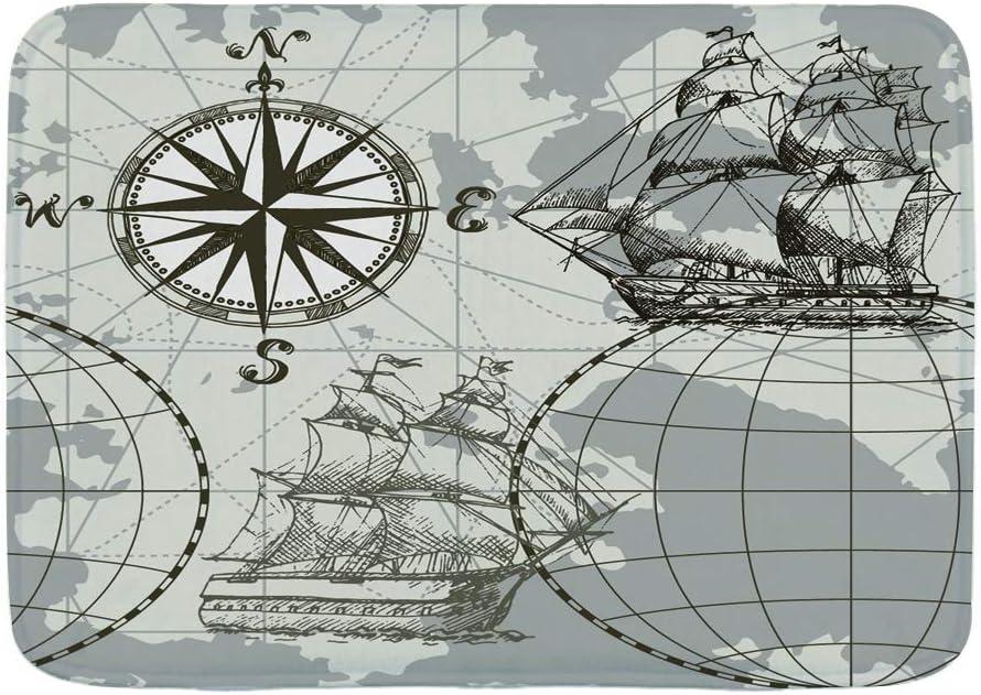 TOVIHUA Felpudo Alfombras de baño,Mapa de mar Transparente de Vector Dibujado a Mano con brújula y velero,Alfombra de Entrada Antideslizante Alfombras de Puerta de Bienvenida