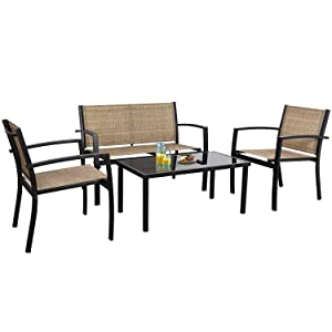Flamaker 4 Pieces Patio Furniture Outdoor Furniture Outdoor Patio Furniture Set Textilene Bistro Set Modern Conversation Set Black Bistro Set with Loveseat Tea Table for Home, Lawn and Balcony