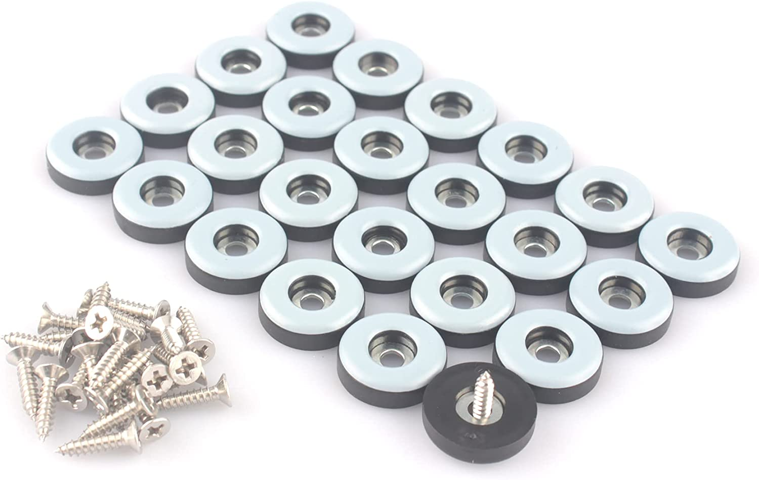 CSFMC Teflon Furniture Sliders Pads(24 Pack 7/8 inch(22mm) Base),Table/Chair/Cabinet/Sofa Small Size PTFE Glides,Stainless Steel Screw on Protect The Floor,Heavy Duty Sliding Block for Furniture