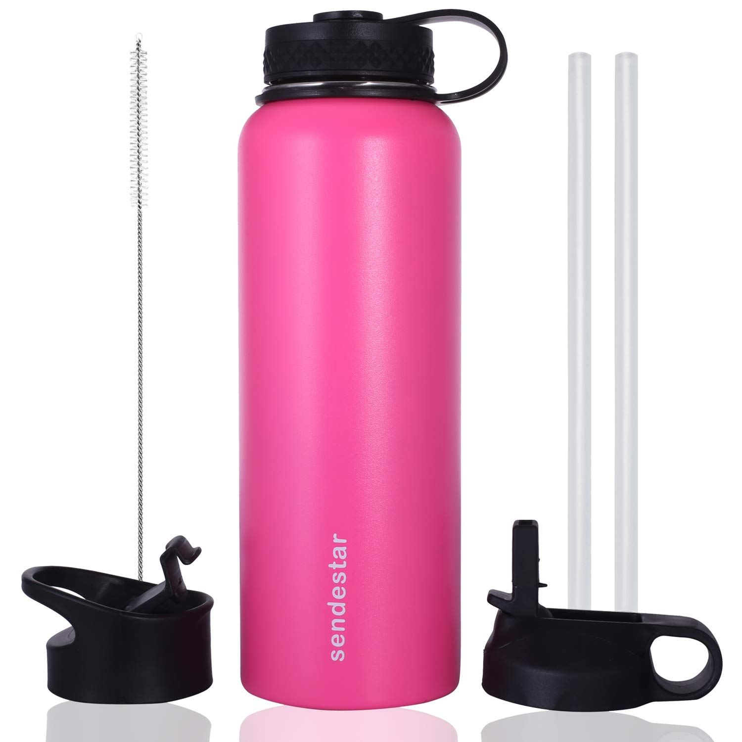 Sendestar 32 oz Double Wall Vacuum Insulated Leak Proof Stainless Steel Sports Water Bottle—Wide Mouth with Straw Lid & Flat Cap & Flip Lid (Pink)