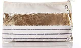 product image for Sea Bags Recycled Sail Cloth Grey Mariner Stripe Wristlet Large