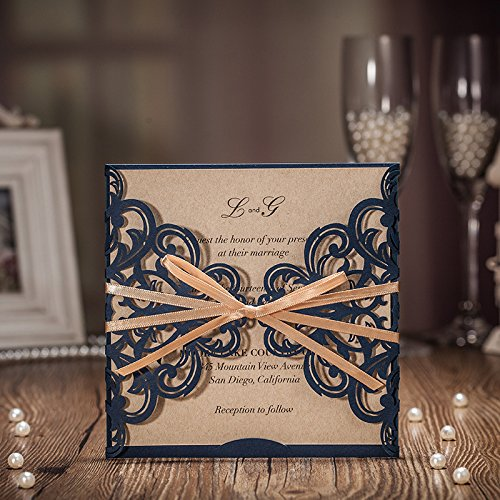 Jofanza Wedding Invitations Cards Laser Cut Rustic Navy Blue Square Invitations with Bow Lace Sleeve for Engagement Baby Bridal Shower Birthday Quinceanera (set of 50pcs) CW6175B