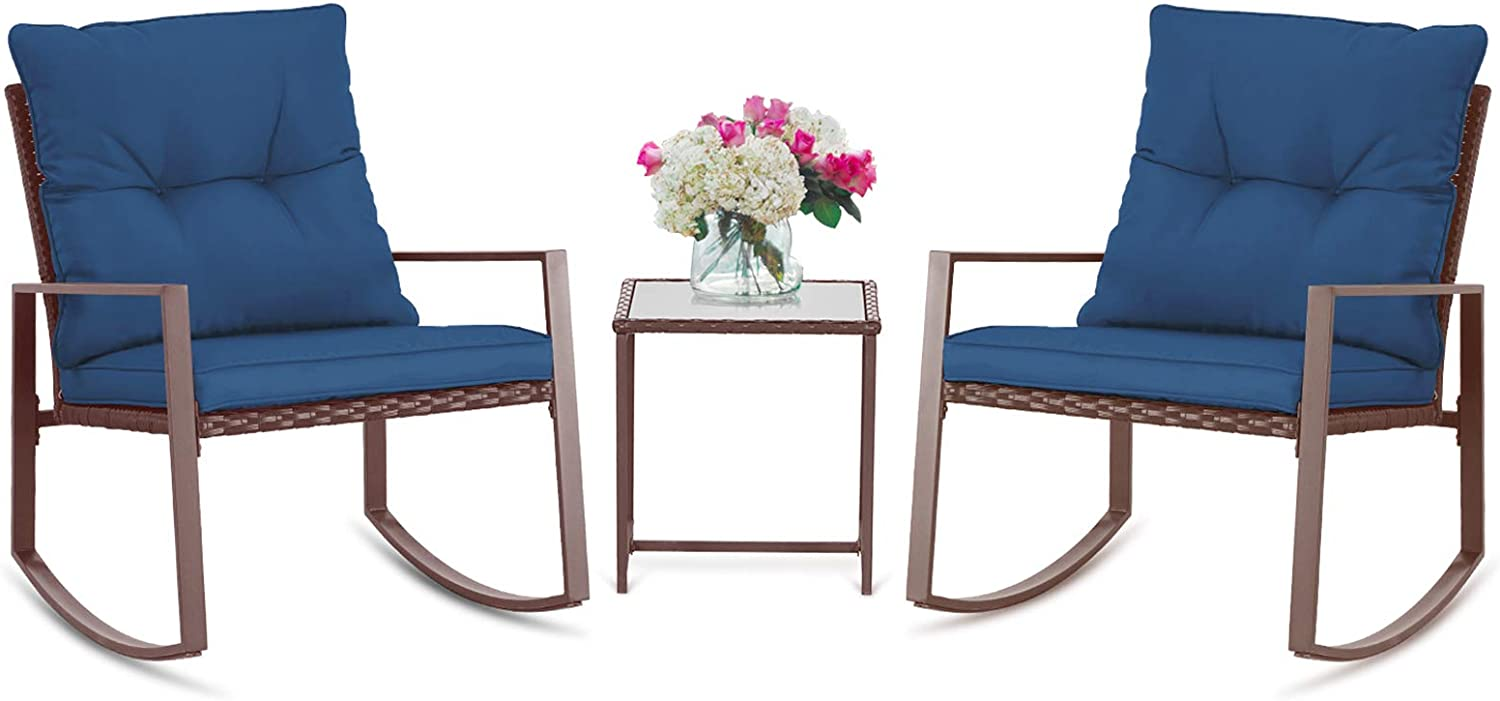 SUNCROWN Outdoor 3-Piece Rocking Bistro Set: Brown Wicker Furniture-Two Chairs with Glass Coffee Table (Dark Blue Cushion)