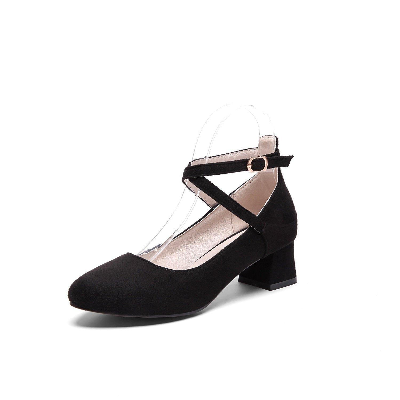 Damen Schuhe Wildleder New Spring Summer Rough Heel Sandale Oxford Guuml;rtel Damen Schuhe fuuml;r Buuml;ro Schwarz Rosa Khaki  38 EU B