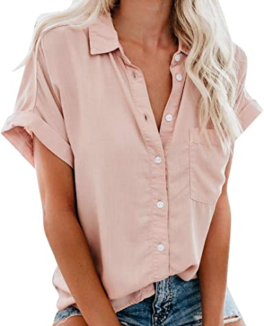 Forthery-Women Plus Size Button-Down Shirts Short Sleeve Blouse T Shirt  Loose V Neck Tops with Pocket at Amazon Women's Clothing store