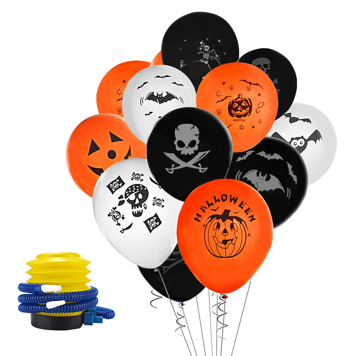 BOENFU Halloween Balloons 50 Pieces 12 Inches Party Balloons in 10 Types with Inflator for Halloween Party Decoration