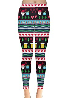 aa2c836f4863ec CowCow Womens Stretchy Tights Christmas Xmas Winter Snowman Santa Penguins  Snowflakes Leggings, XS-5XL