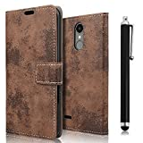 zStarLn brown PU Leather Bookstyle Wallet Case Cover Pouch for LG K8 2017 Case + 3 Screen Protector and Stylet Touch Pen OFFERTS