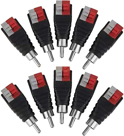 Lollipop Speaker Wire Cable to Audio Male RCA Connector Adapter Jack Plug  9pcs/Set