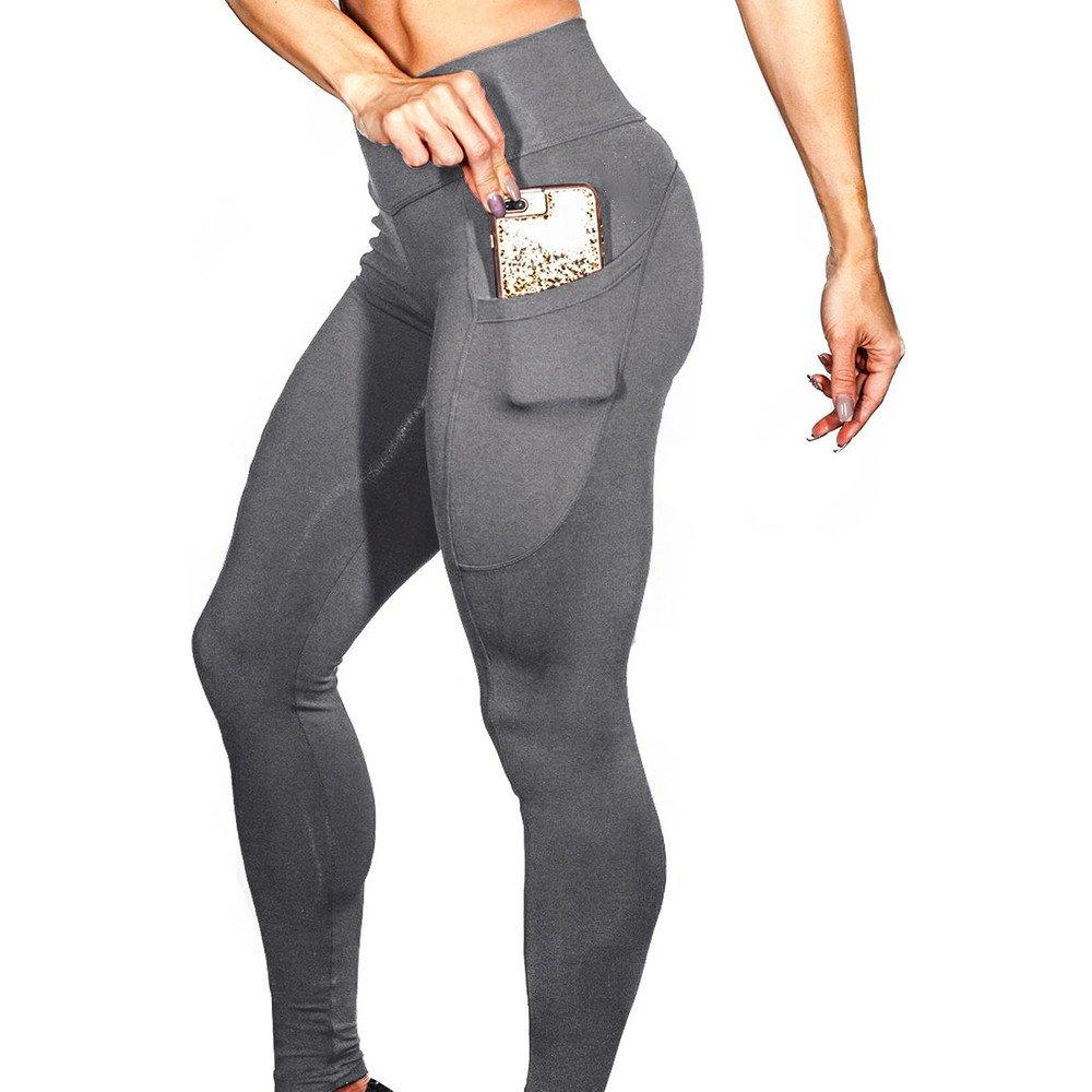 Pantalones Yoga Mujeres, Yusealia Sólid Leggins Fitness Pantalones Elasticidad de Moda Empalmada Cintura Mid De Flaco Correr Elasticidad Pantalones