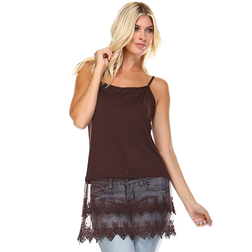 Cotton-Blend Layering Camisole with Extra-Long Sheer Lace Bottom . TP-0001