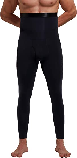 Men Lift Up Shaper Long Pants Compression Abdomen Sculpting Legs Leggings LN87