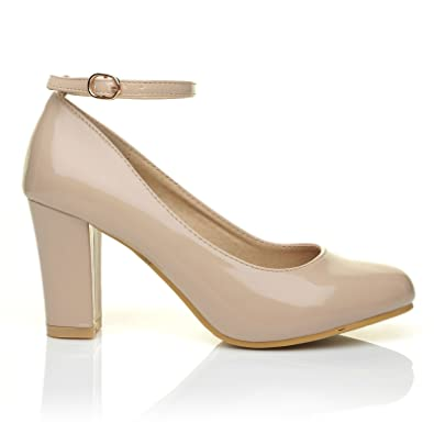 ZARA Nude Patent Block Heel Ankle Strap Round Toe Court Shoes ...