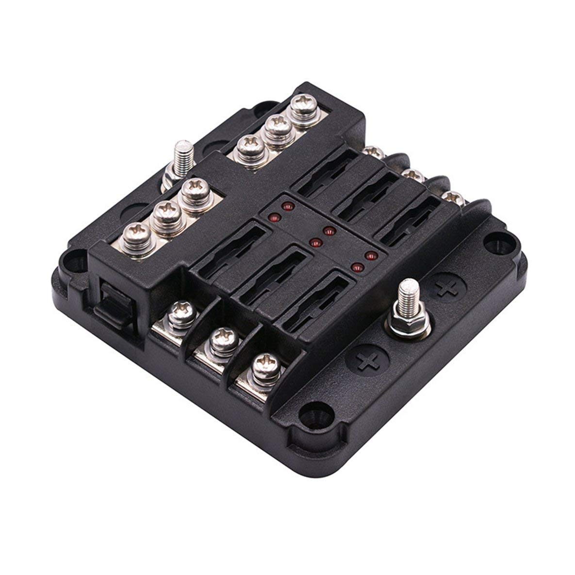 Noradtjcca Car Multi-Way Fuse Box Power Plug-In Fuse Box With Led Indicator 1 Input And 6 Output Independent Positive And Negative