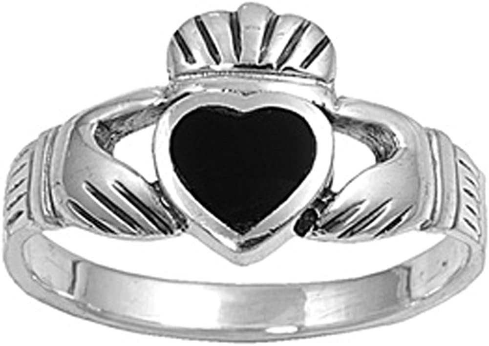 CHOOSE YOUR COLOR Sterling Silver Claddagh Heart Ring