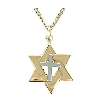 14k gold over sterling silver two tone star of david cross pendant 14k gold over sterling silver two tone star of david cross pendant 5 aloadofball Gallery