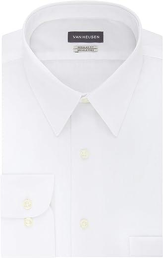 قميص رسمي بقصة عادية من قماش البوبلين بلون واحد للرجال من فان هيوزن