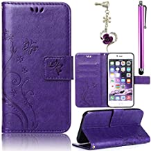 Samsung Galaxy S5 S5 Neo i9600 GT-I9600 Samsung Galaxy S5 (SM-G900F) - S5 Neo (SM-G903F) [Embossing Flower Butterfly Pattern ]Leather Phone Case , Sunroyal Premium PU Leather Purse Wallet Folding Flip Folio Case Protection Soft TPU Back Case Cover in Book Style with Card Slots & Magnetic Closure + 1x Bling Glitter Crystal Rhinestone Diamond Anti Dust Plug + 1x Metal Stylus Touch Pen , Purple