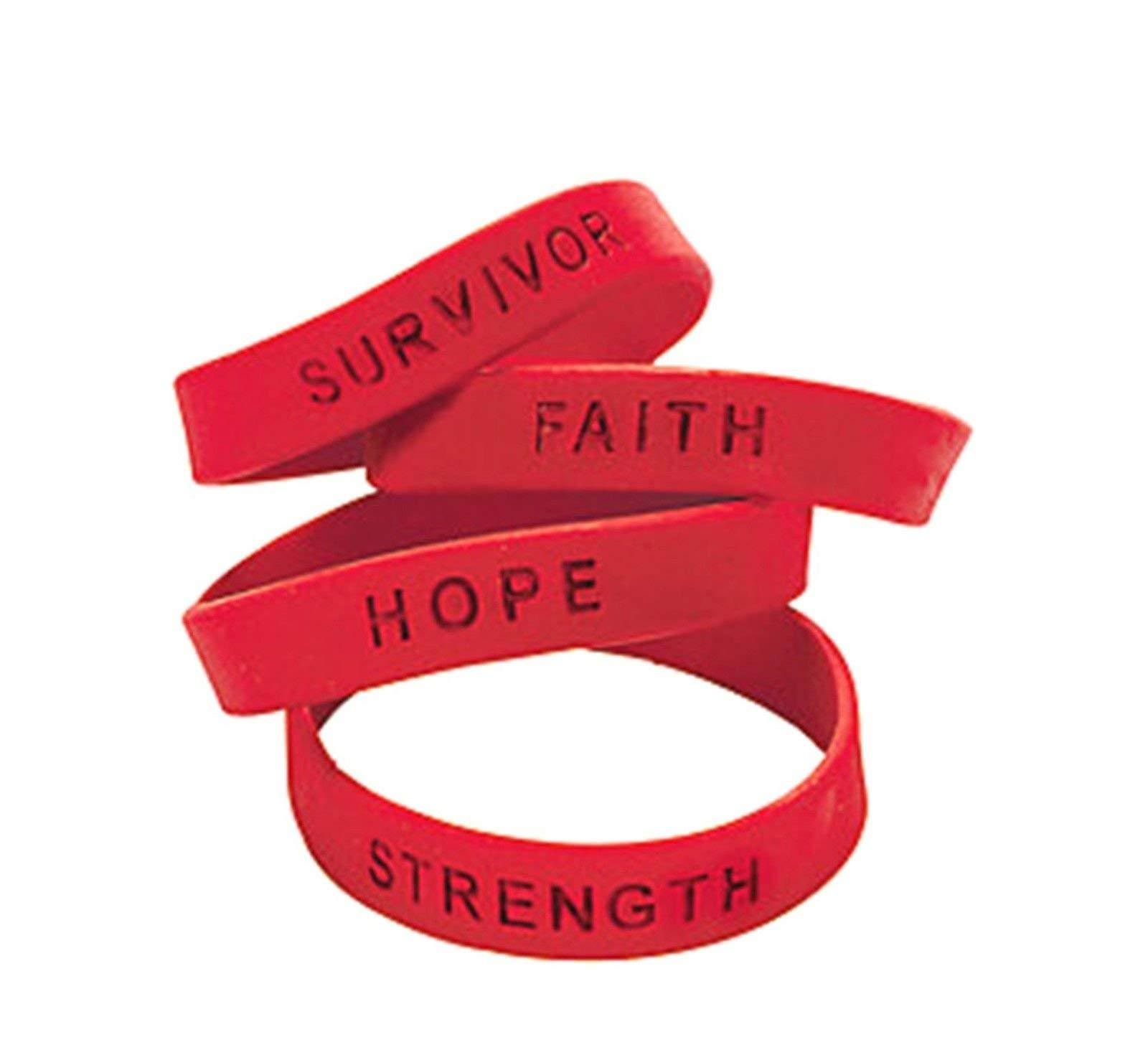 120 RED Ribbon AIDS Awareness rubber bracelets