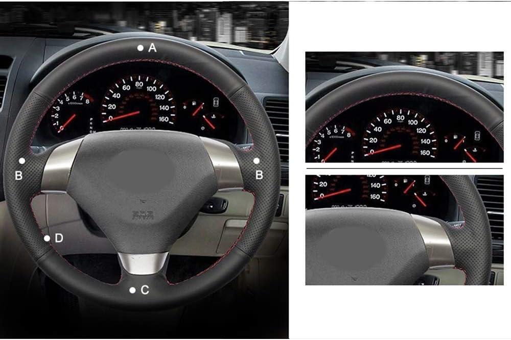 HCDSWSN Cubierta del Volante del Coche de Cuero Artificial Negro para Honda Accord 7 Coup/é 2003-2007