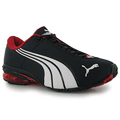 8d417b66fe7409 PUMA Mens Gents Jago Nylon Lace Up Trainers Running Shoes Black Red UK 7