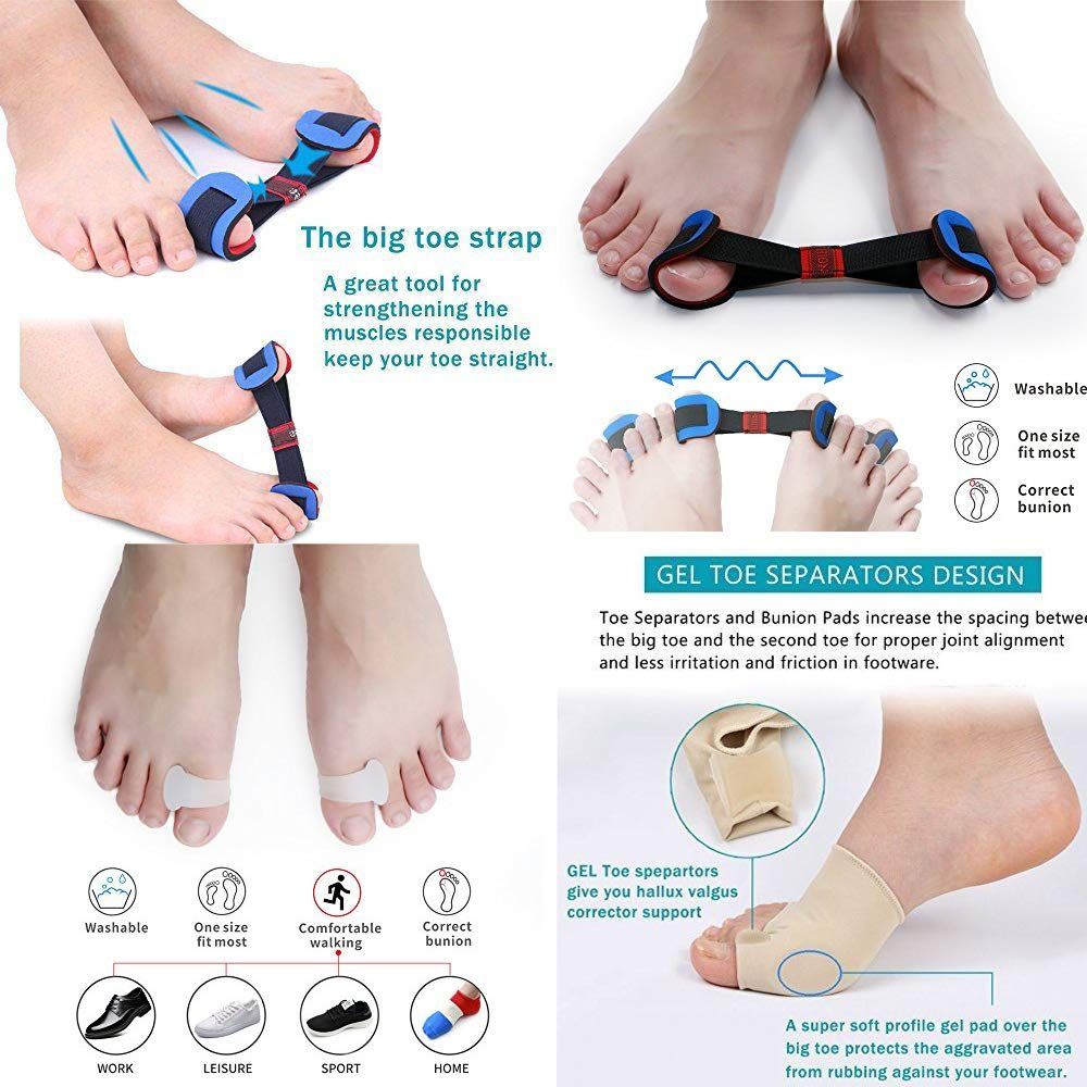 Amazon.com: Bunion Corrector and Bunion Relief Protector Sleeves Kit, Toe Separators Spacers Straighteners Treat Pain in Hallux Valgus, Tailors Bunion, ...