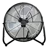 Smartxchoices 20'' Black High Velocity Floor Fan Portable Heavy Duty Three Speed Levels Cyclone Table Fan Commercial Industrial Home Use, Non-Oscillating 110V