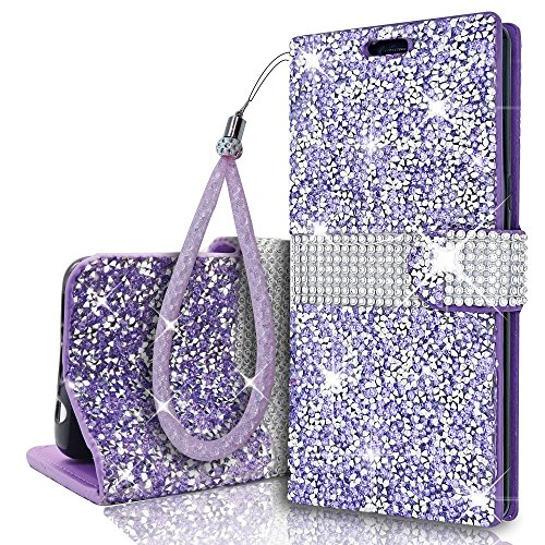 Glitter Bling Wristlet Wallet Case for Samsung Galaxy S10(6.1 Inch) Lanyard Stand Shiny Sparkle Crystal Stars Flip Card Slot Luxury Girl Women Galaxys10 Phone Cover (Purple)