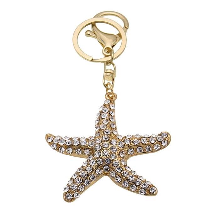 kesierte 2pcs Diamond Starfish Metal Pendant decoración hombres y mujeres llaves de coche colgante de accesorios de bolsas de regalo creativo de vacaciones: ...