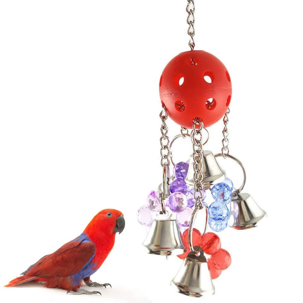 chytaii juguete suspendida para pájaro loro Ara con pelota y Campanilla plástico, multicolor