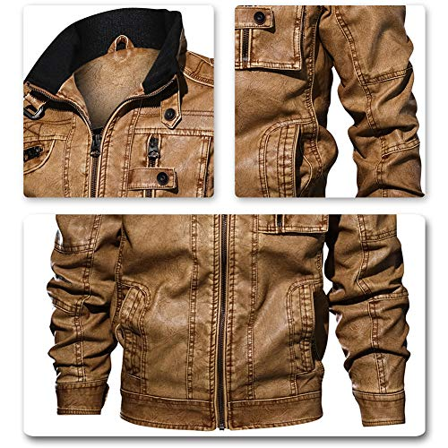 Veste Cuir Jacket D'hiver Coupe vent Homme Jaune Blouson Blazer Simili af4KqwO4EY