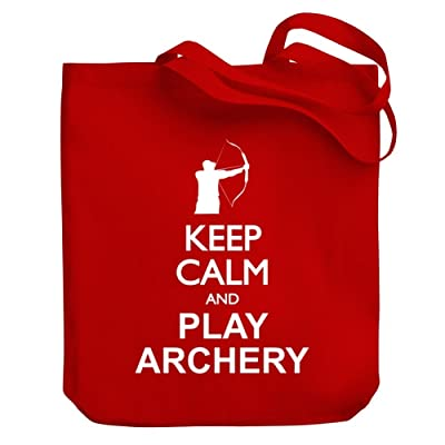 durable service Teeburon Keep calm and play Archery silhouette Canvas Tote Bag