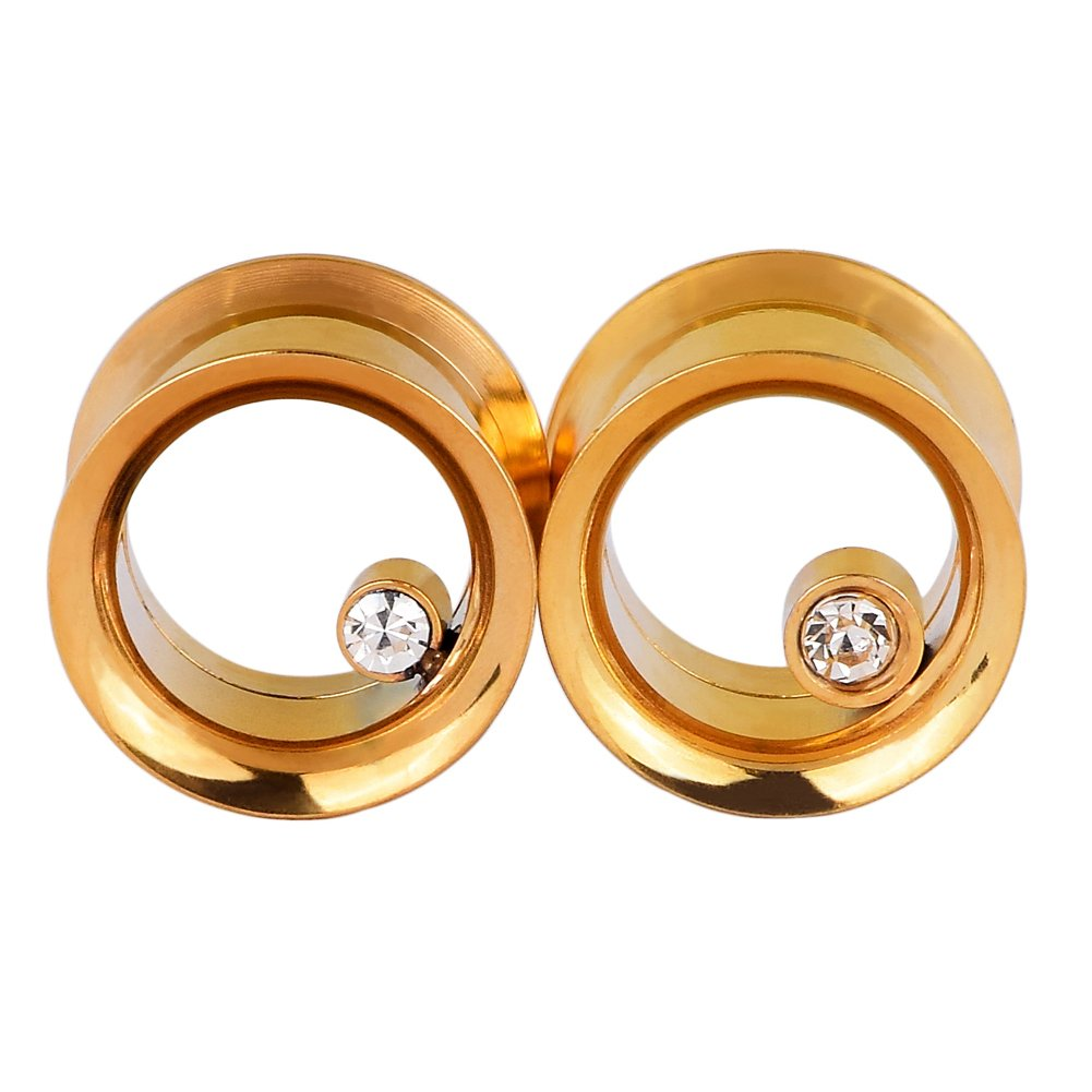 Lianrun 1Pair or 2Pairs Gold//Black Vacuum Stainless Steel Ear Tunnels Crystal gem Ear Plugs from 2g-3//4 Lianrunshangmao Co.Ltd SWK50204