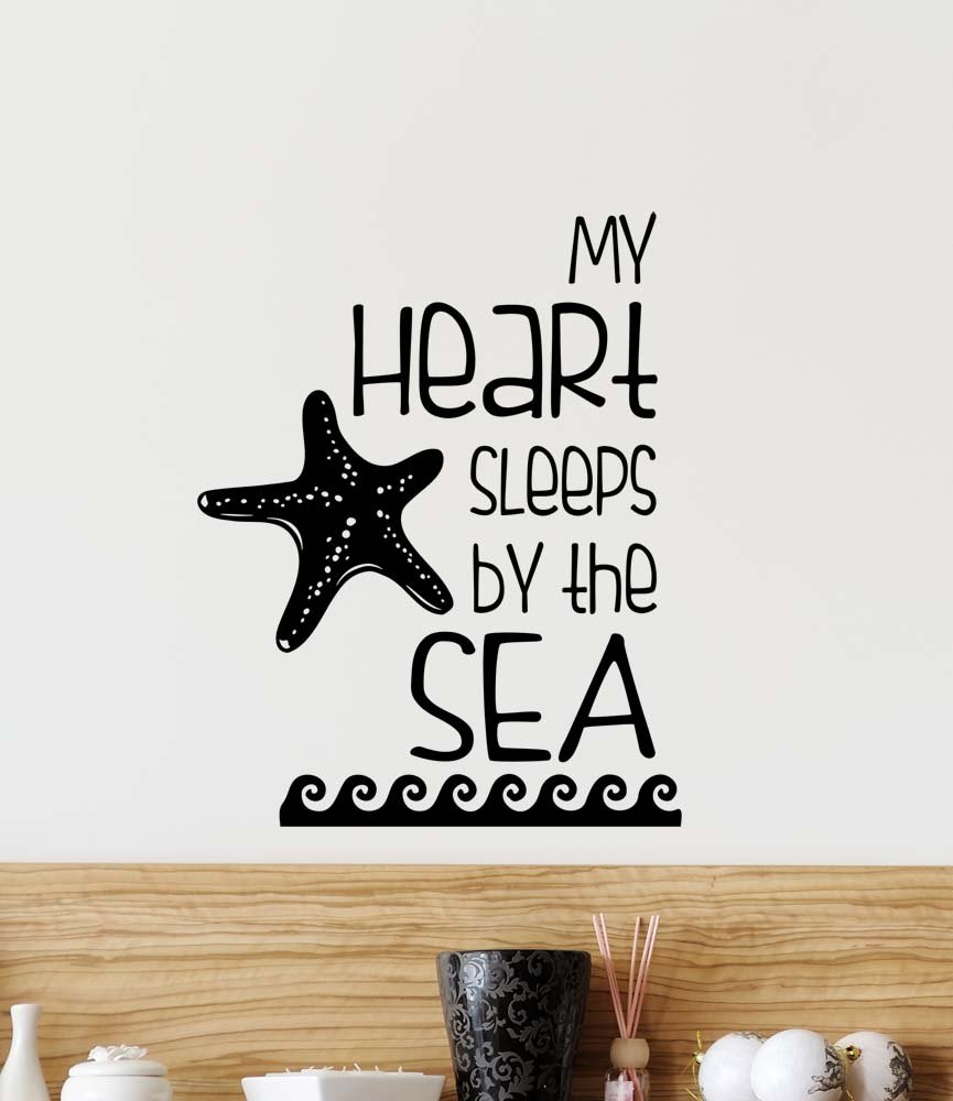Amazon wall decal my heart sleeps by the sea cute vinyl wall amazon wall decal my heart sleeps by the sea cute vinyl wall decor quotes sayings inspirational wall art home kitchen amipublicfo Images