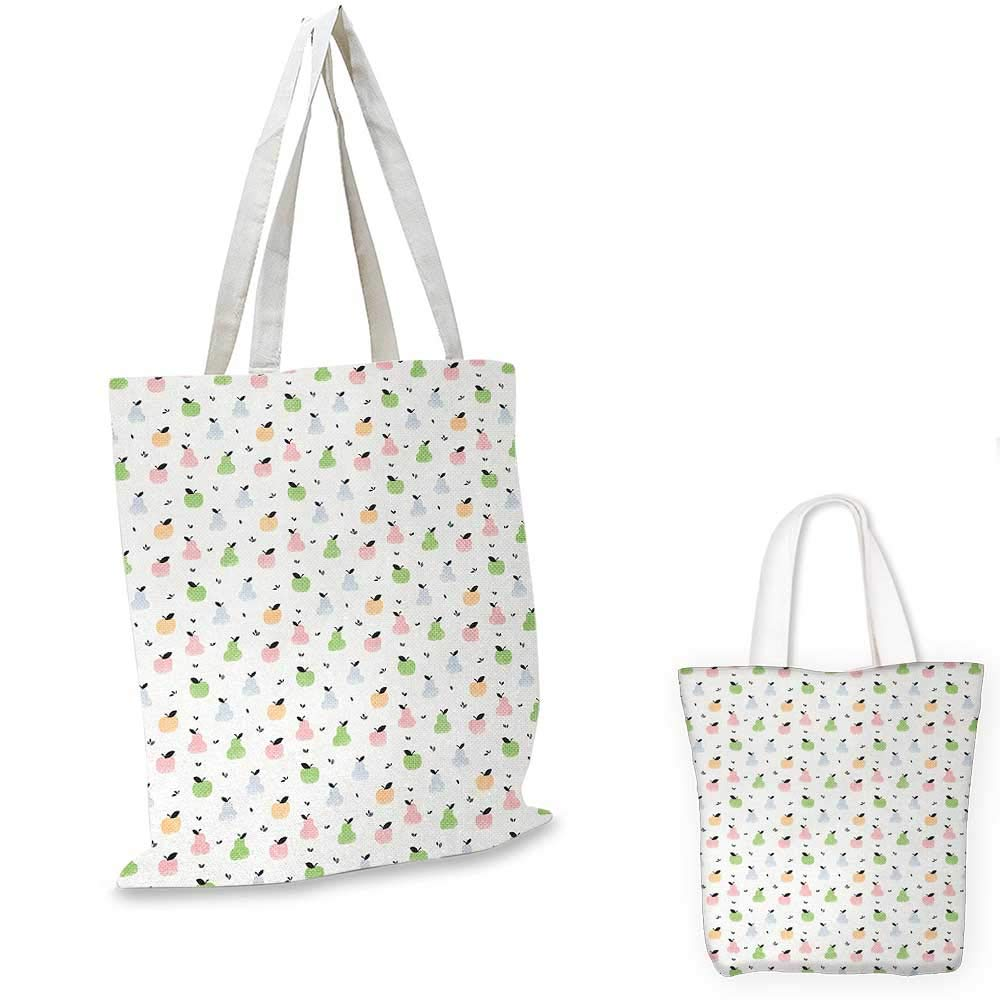 Pastel canvas messenger bag Grunge Pattern with Colorful Apples Pears and Leaves Sweet and Tasty Summer Fruits canvas beach bag Multicolor 14x16-11