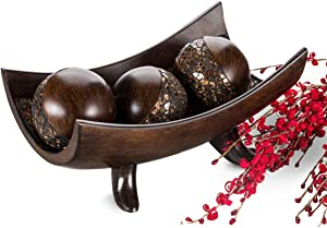 Schonwerk Decorative Centerpiece Bowl with 3 Matching Orbs - Coffee Table Decor with Resin Sphere Balls for Living Room Dining Room Table - Decorations for Home Decor - Mantle House Decor (Brown)