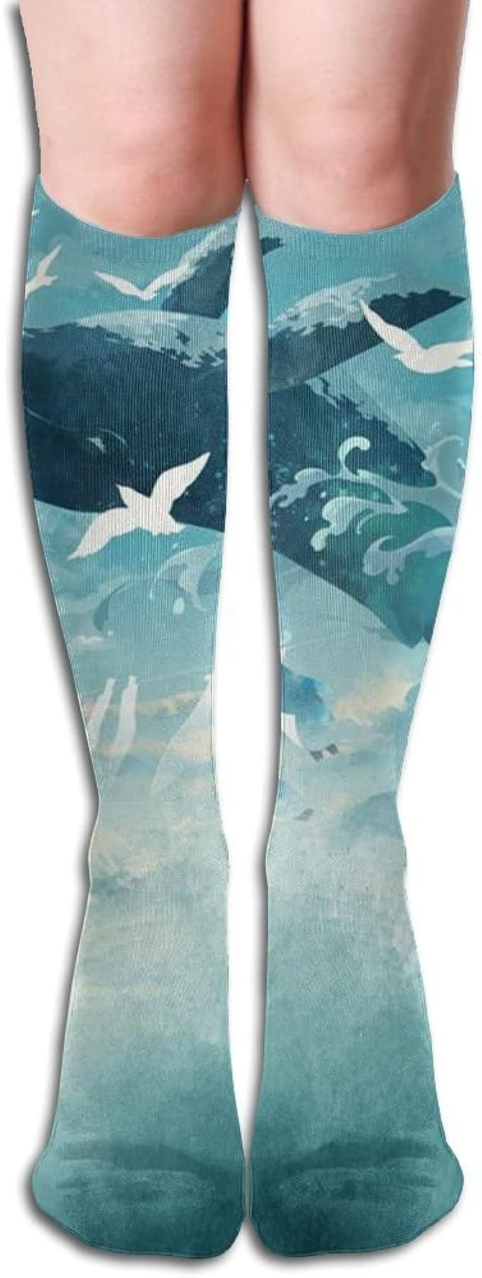 Womens 50 Full Print Stockings Whale Bird Sky Knee High Crew Socks