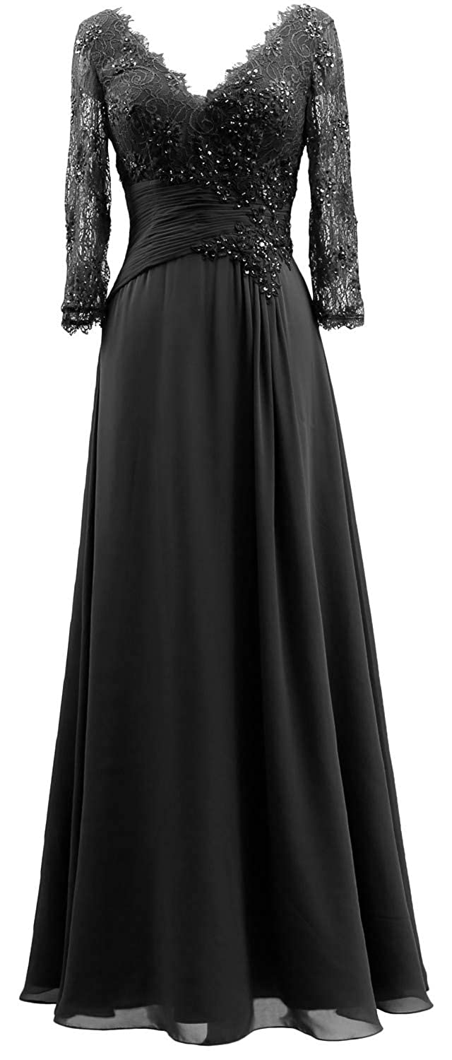 Gown Macloth 2019 Women Lace Mother 34 Evening Neck Sleeves V Of jLSUMVpqzG