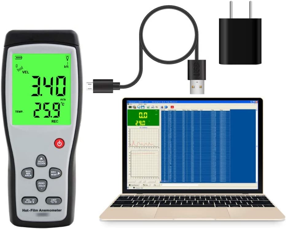 Color Lorachun Thermal Anemometer Handheld High-Precision Gauge Air Volume Tester Wind Speed Measuring Instrument