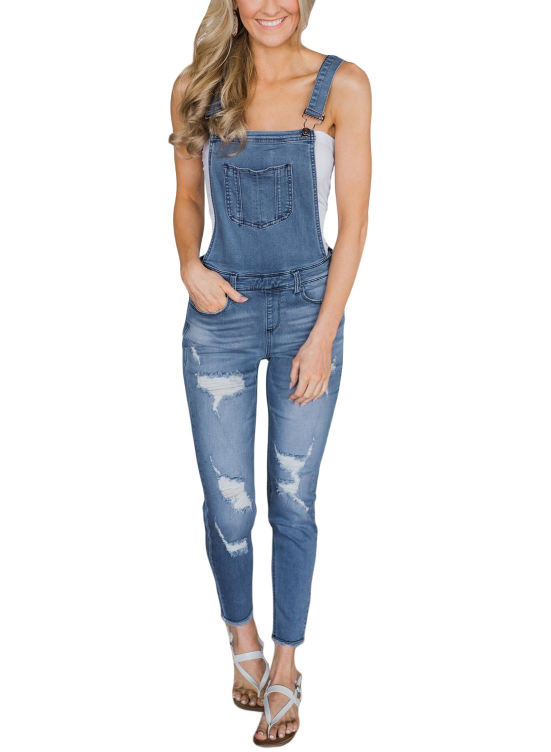 GOSOPIN Women Adjustable Strap Ripped Distressed Original Denim Overalls Medium Light Blue by GOSOPIN