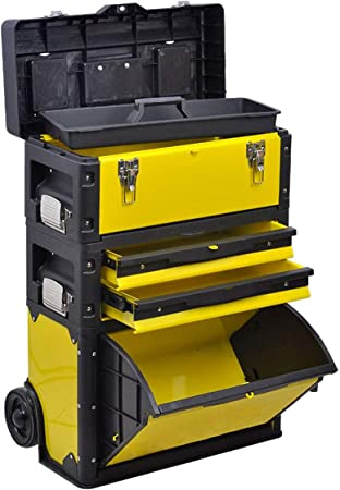 GYZ Caja de Herramientas, cajón móvil de Tres Capas con Ruedas, Caja multifunción metálica, Desmontable el plastico: Amazon.es: Hogar