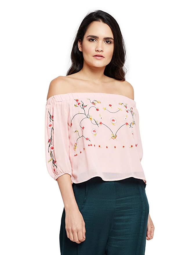 oxolloxo Women Off Shoulder Pink Top  3/4th Sleeves